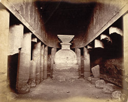 Interior of Buddhist chaitya hall, Cave IX, Ajanta 10004482